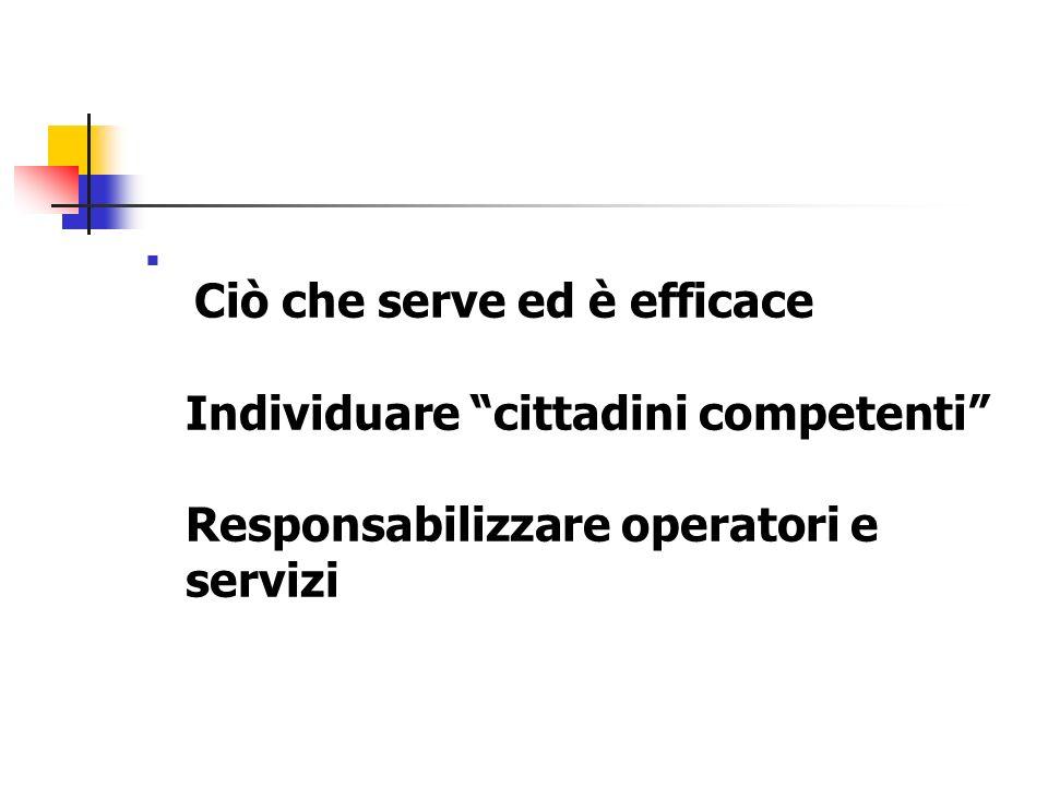 Ciò che serve ed è efficace Individuare cittadini competenti Responsabilizzare operatori e servizi