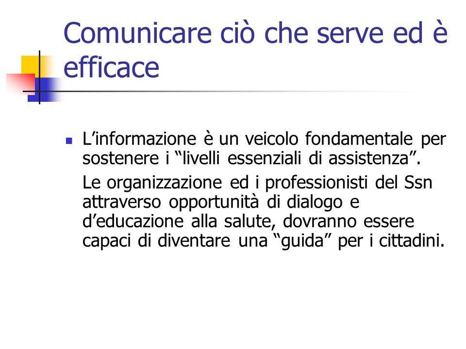 Comunicare ciò che serve ed è efficace Linformazione è un veicolo fondamentale per sostenere i livelli essenziali di assistenza. Le organizzazione ed