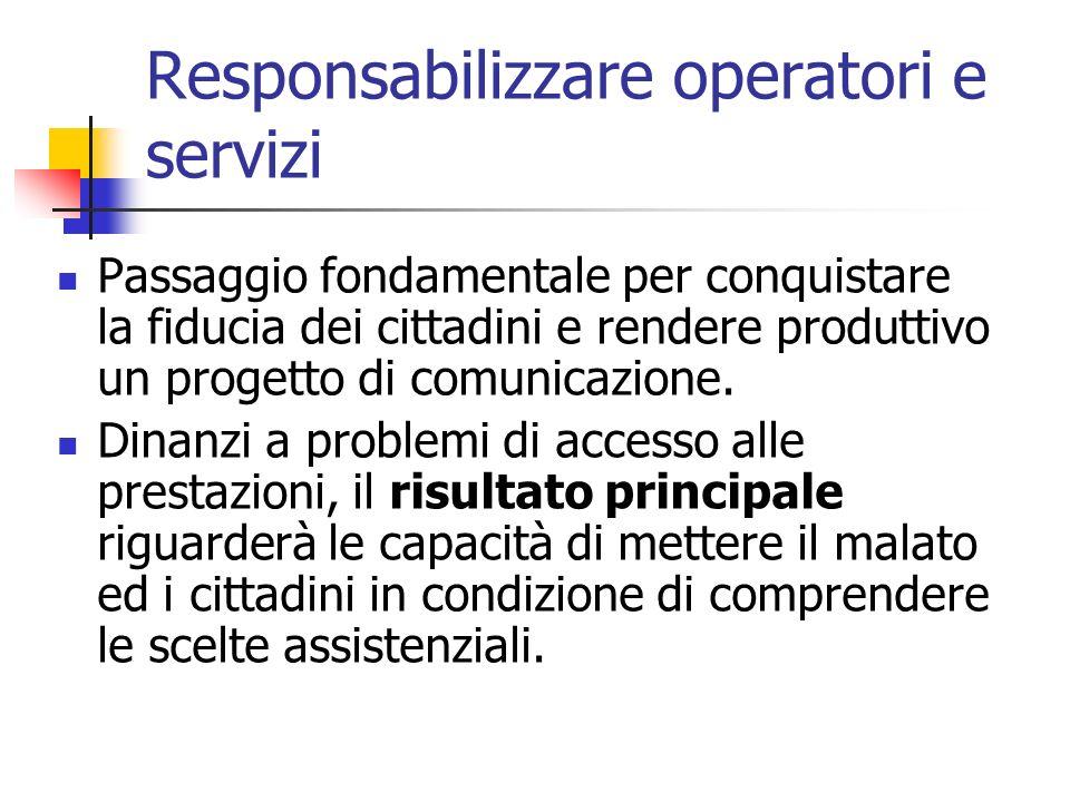 Responsabilizzare operatori e servizi Passaggio fondamentale per conquistare la fiducia dei cittadini e rendere produttivo un progetto di comunicazion