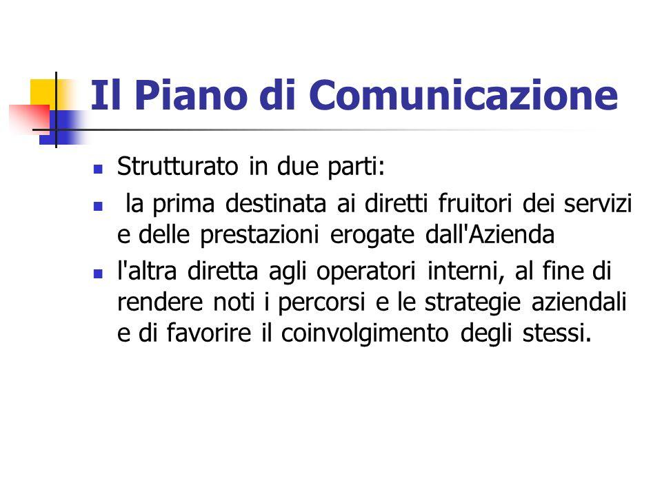 Il Piano di Comunicazione Strutturato in due parti: la prima destinata ai diretti fruitori dei servizi e delle prestazioni erogate dall'Azienda l'altr