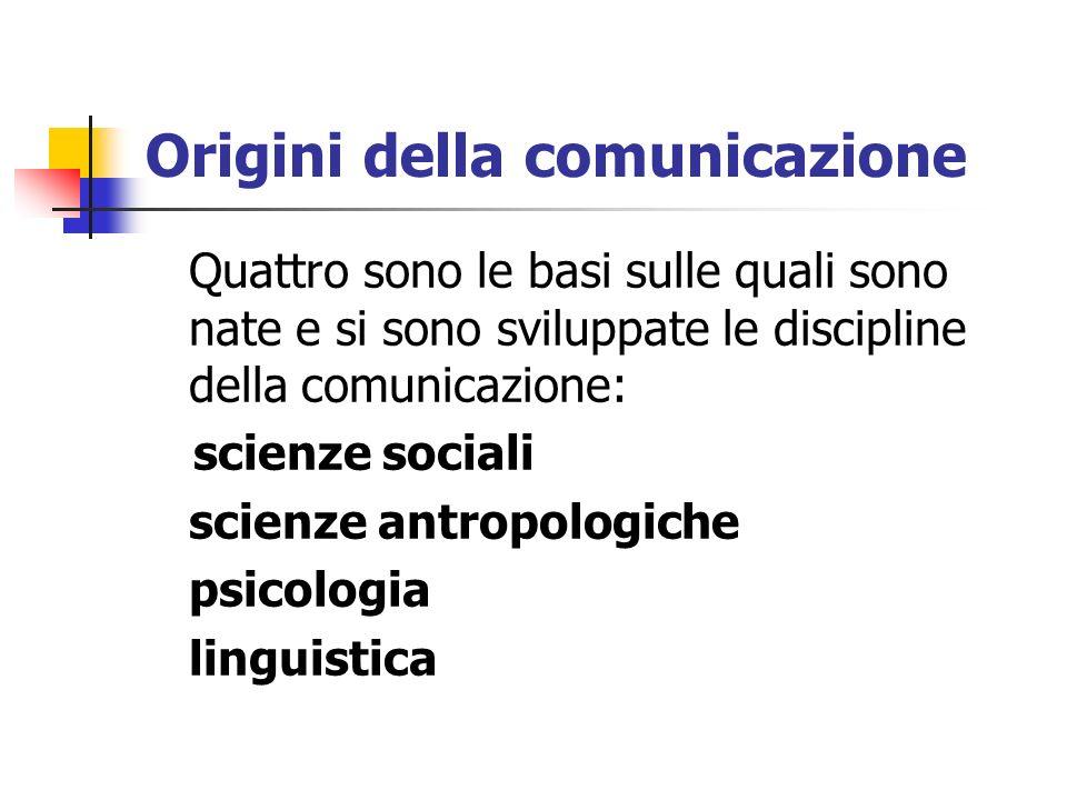 Origini della comunicazione Quattro sono le basi sulle quali sono nate e si sono sviluppate le discipline della comunicazione: scienze sociali scienze
