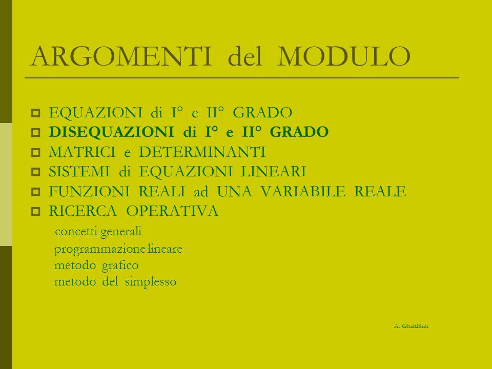 ARGOMENTI del MODULO EQUAZIONI di I° e II° GRADO DISEQUAZIONI di I° e II° GRADO MATRICI e DETERMINANTI SISTEMI di EQUAZIONI LINEARI FUNZIONI REALI ad UNA VARIABILE REALE RICERCA OPERATIVA concetti generali programmazione lineare metodo grafico metodo del simplesso A.