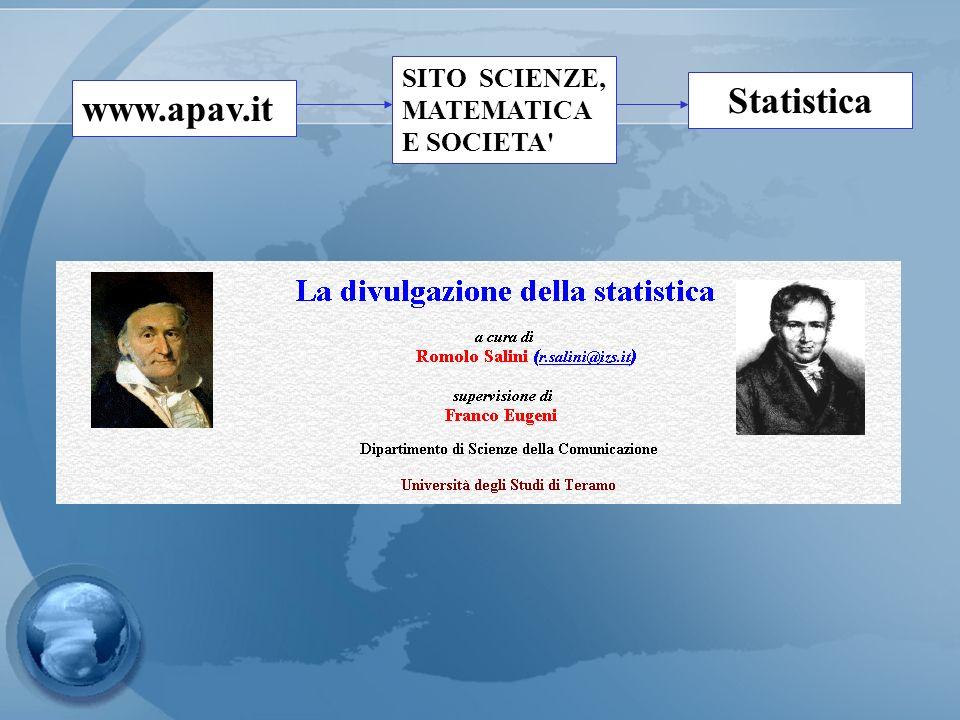 www.apav.it SITO SCIENZE, MATEMATICA E SOCIETA' Statistica