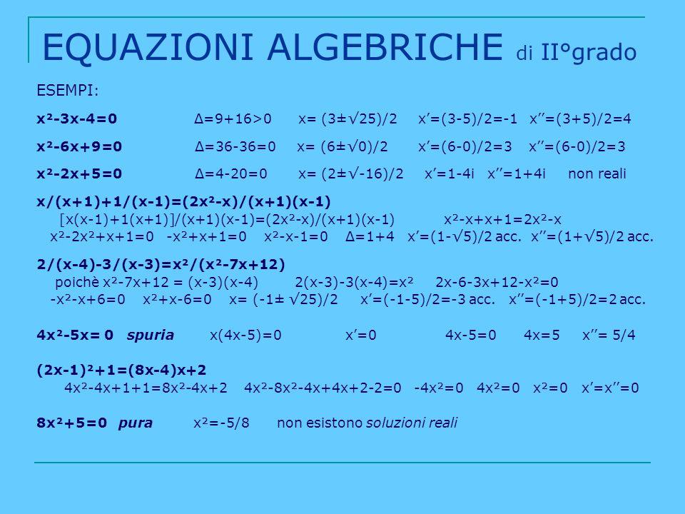EQUAZIONI ALGEBRICHE di II°grado ESEMPI : x²-3x-4=0 Δ=9+16>0 x= (3±25)/2 x=(3-5)/2=-1 x=(3+5)/2=4 x²-6x+9=0 Δ=36-36=0 x= (6±0)/2 x=(6-0)/2=3 x=(6-0)/2