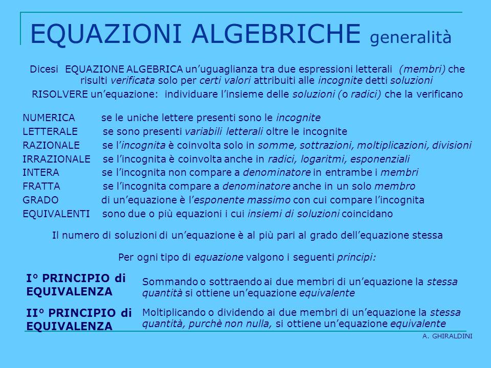 EQUAZIONI ALGEBRICHE generalità Dicesi EQUAZIONE ALGEBRICA unuguaglianza tra due espressioni letterali (membri) che risulti verificata solo per certi