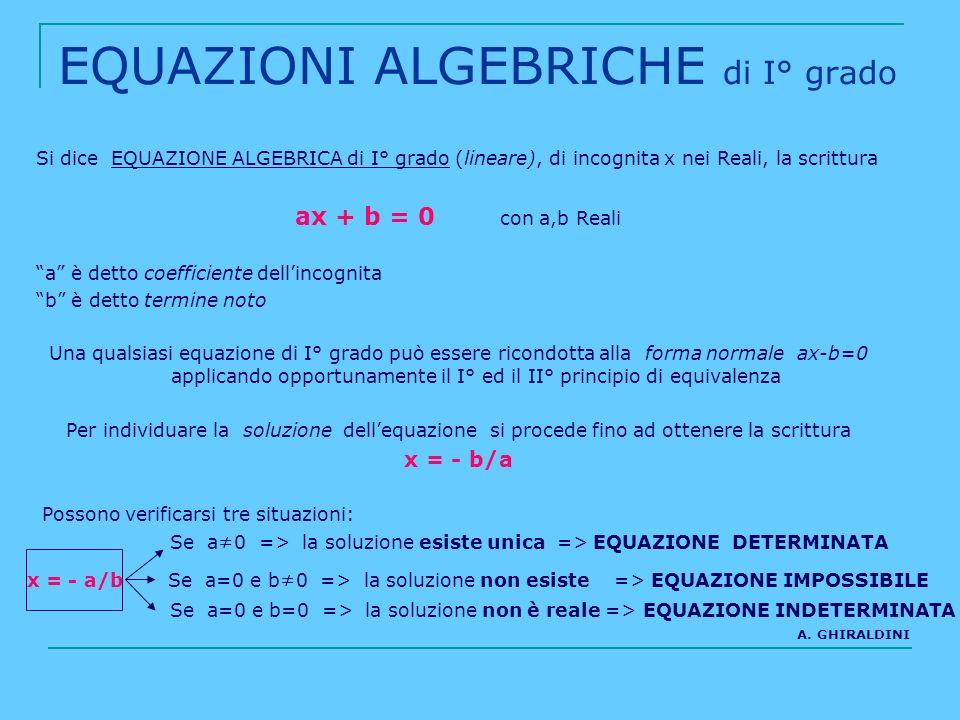 EQUAZIONI ALGEBRICHE di I° grado Si dice EQUAZIONE ALGEBRICA di I° grado (lineare), di incognita x nei Reali, la scrittura ax + b = 0 con a,b Reali a