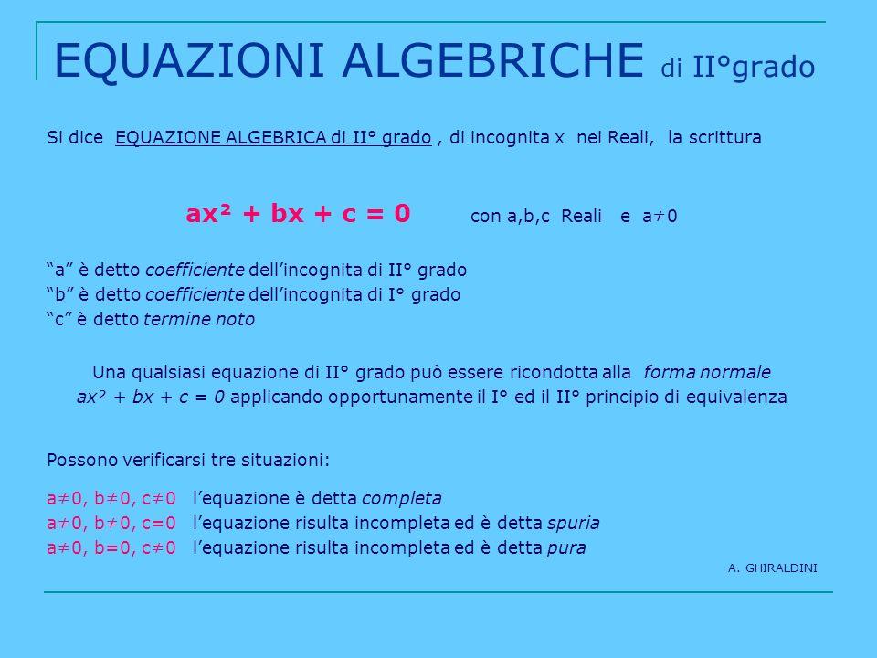 EQUAZIONI ALGEBRICHE di II°grado Si dice EQUAZIONE ALGEBRICA di II° grado, di incognita x nei Reali, la scrittura ax² + bx + c = 0 con a,b,c Reali e a