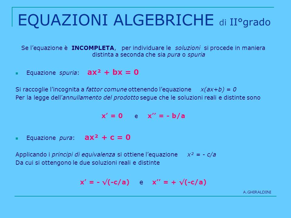EQUAZIONI ALGEBRICHE di II°grado Se lequazione è INCOMPLETA, per individuare le soluzioni si procede in maniera distinta a seconda che sia pura o spur