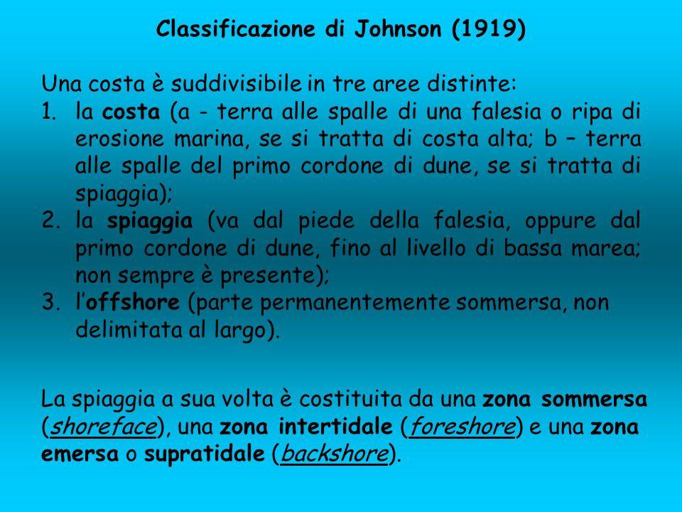 Classificazione di Johnson (1919) Una costa è suddivisibile in tre aree distinte: 1.la costa (a - terra alle spalle di una falesia o ripa di erosione