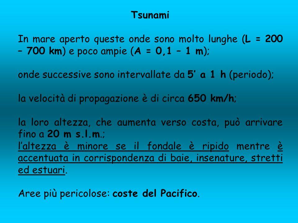 Tsunami In mare aperto queste onde sono molto lunghe (L = 200 – 700 km) e poco ampie (A = 0,1 – 1 m); onde successive sono intervallate da 5 a 1 h (pe