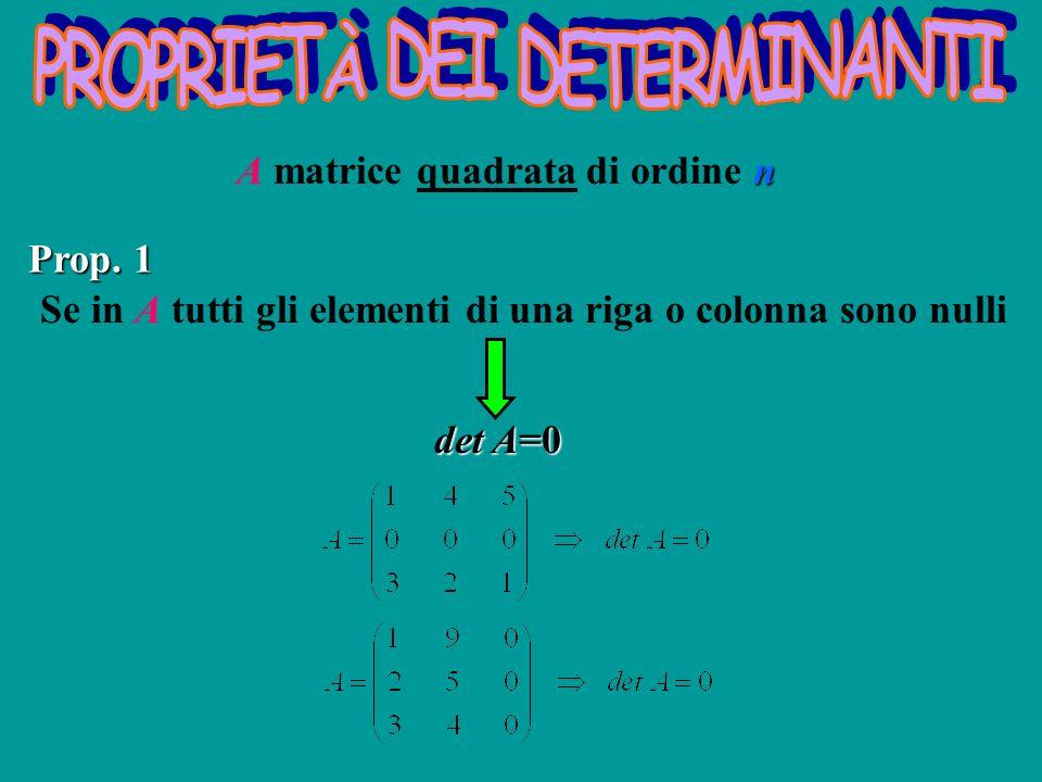 n A matrice quadrata di ordine n Se in A tutti gli elementi di una riga o colonna sono nulli det A=0 Prop. 1