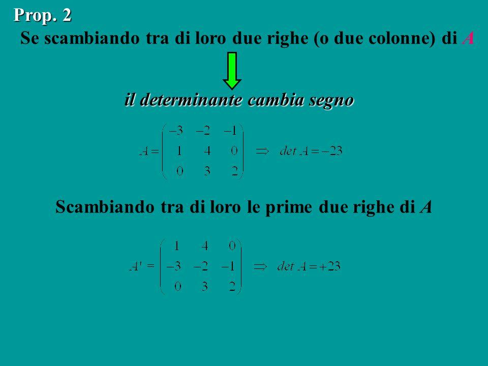Se scambiando tra di loro due righe (o due colonne) di A il determinante cambia segno Prop. 2 Scambiando tra di loro le prime due righe di A