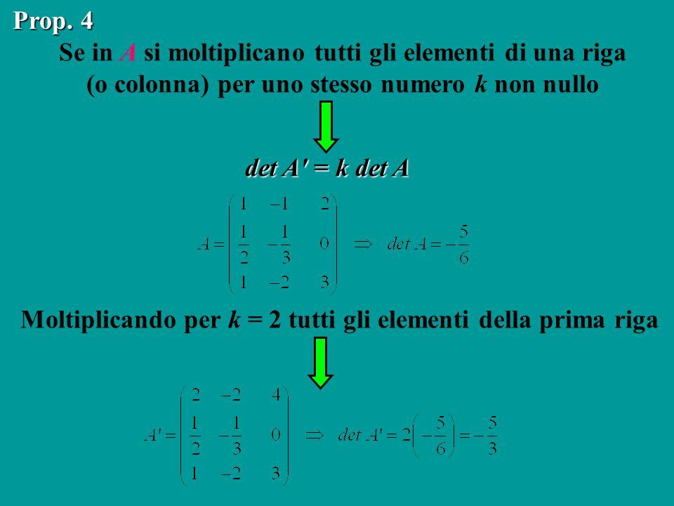 Se in A si moltiplicano tutti gli elementi di una riga (o colonna) per uno stesso numero k non nullo Prop. 4 det A' = k det A Moltiplicando per k = 2