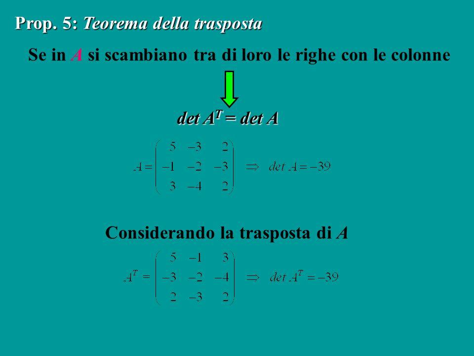 Se in A si scambiano tra di loro le righe con le colonne Prop. 5: Teorema della trasposta det A T = det A Considerando la trasposta di A