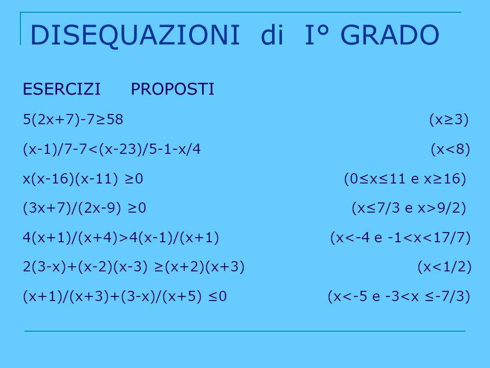 DISEQUAZIONI di I° GRADO ESERCIZI PROPOSTI 5(2x+7)-758 (x3) (x-1)/7-7<(x-23)/5-1-x/4 (x<8) x(x-16)(x-11) 0 (0x11 e x16) (3x+7)/(2x-9) 0 (x7/3 e x>9/2)
