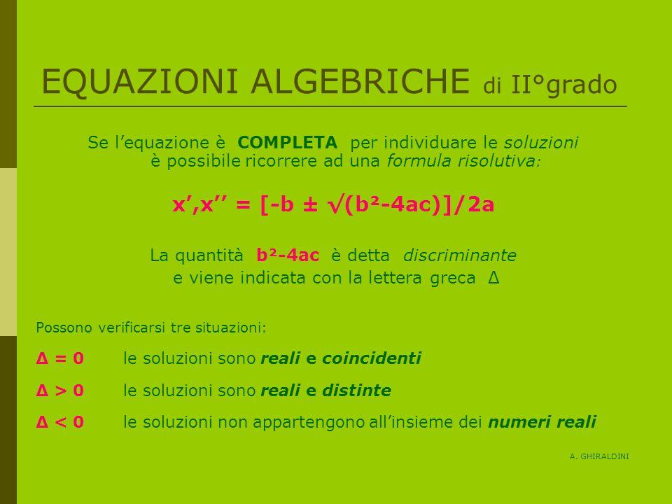 EQUAZIONI ALGEBRICHE di II°grado Se lequazione è COMPLETA per individuare le soluzioni è possibile ricorrere ad una formula risolutiva : x,x = [-b ± (b²-4ac)]/2a La quantità b²-4ac è detta discriminante e viene indicata con la lettera greca Δ Possono verificarsi tre situazioni: Δ = 0 le soluzioni sono reali e coincidenti Δ > 0 le soluzioni sono reali e distinte Δ < 0 le soluzioni non appartengono allinsieme dei numeri reali A.