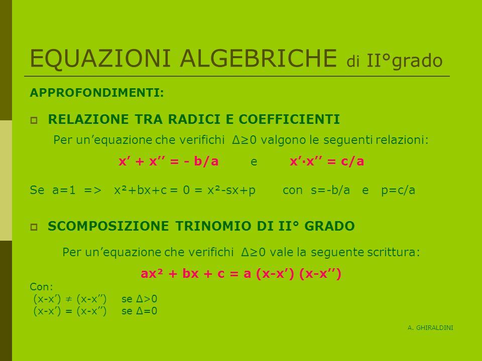 EQUAZIONI ALGEBRICHE di II°grado APPROFONDIMENTI: RELAZIONE TRA RADICI E COEFFICIENTI Per unequazione che verifichi Δ0 valgono le seguenti relazioni: x + x = - b/a e xx = c/a Se a=1 => x²+bx+c = 0 = x²-sx+p con s=-b/a e p=c/a SCOMPOSIZIONE TRINOMIO DI II° GRADO Per unequazione che verifichi Δ0 vale la seguente scrittura: ax² + bx + c = a (x-x) (x-x) Con: (x-x) (x-x) se Δ>0 (x-x) = (x-x) se Δ=0 A.