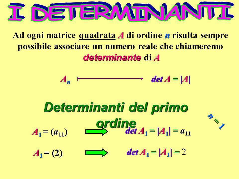 Determinanti del secondo ordine det A 2 = |A 2 | = a 11 a 22 a 12 a 21 det A 2 = |A 2 | = === = (1)( 1) (1)(3) = 1 3 = 4 = det A 2 = |A 2 | = === = (4)(0) (1)(3) = 0 3 = 3 = n=2n = 2n=2n = 2