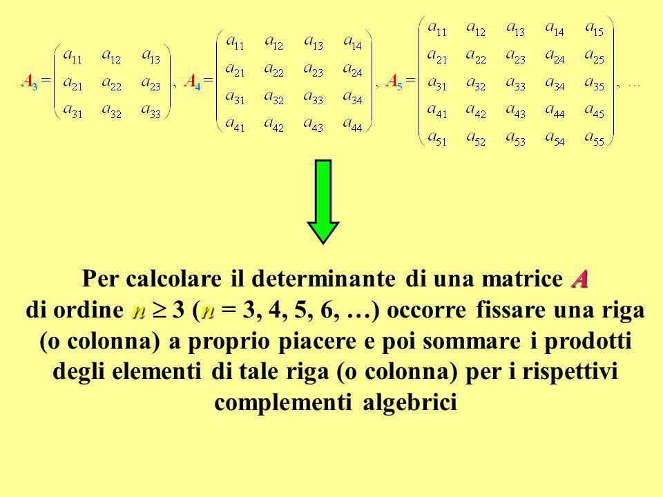 A nn Per calcolare il determinante di una matrice A di ordine n 3 (n = 3, 4, 5, 6, …) occorre fissare una riga (o colonna) a proprio piacere e poi som
