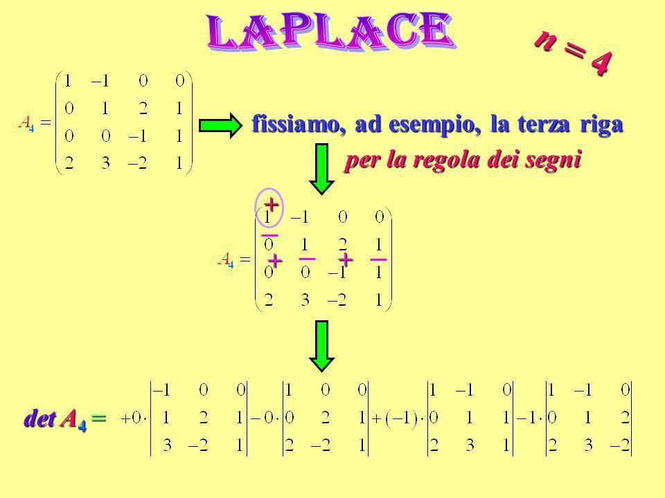 n = 4 fissiamo, ad esempio, la terza riga per la regola dei segni + + + det A 4 =