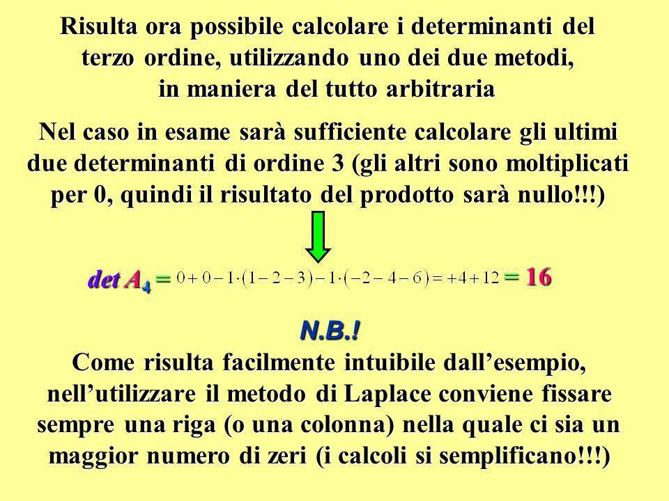 Risulta ora possibile calcolare i determinanti del terzo ordine, utilizzando uno dei due metodi, in maniera del tutto arbitraria Nel caso in esame sar