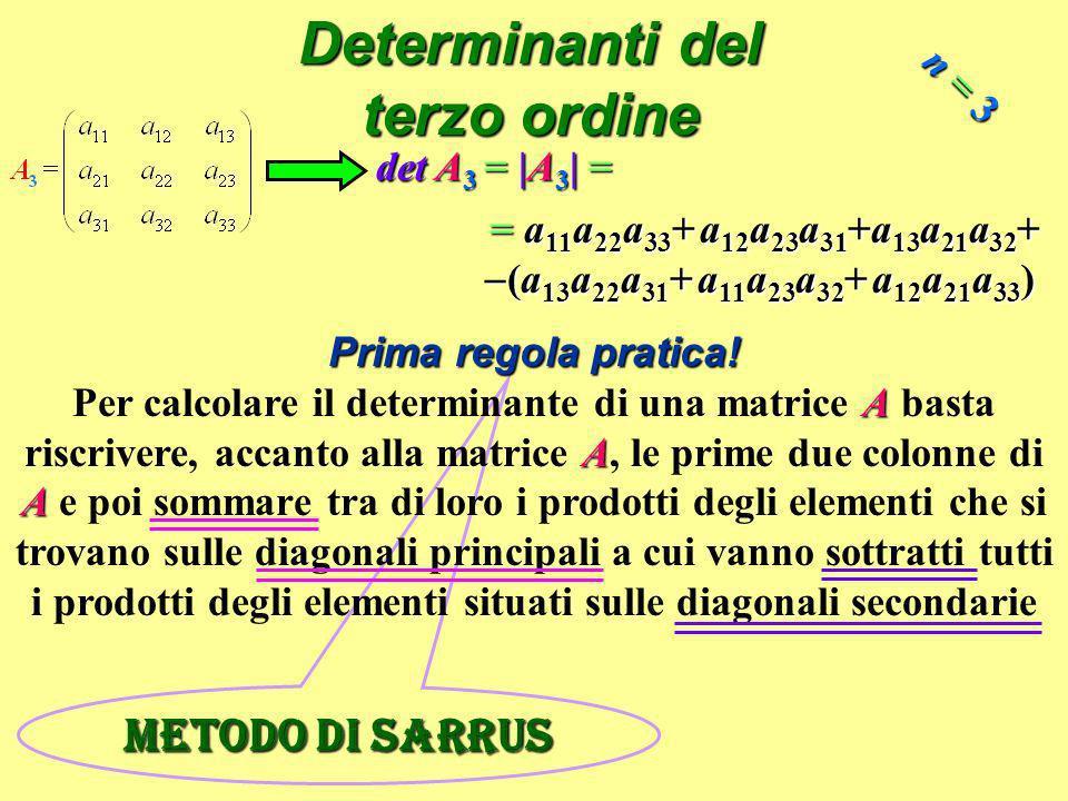 Metodo di Sarrus Determinanti del terzo ordine = a 11 a 22 a 33 + a 12 a 23 a 31 +a 13 a 21 a 32 + (a 13 a 22 a 31 + a 11 a 23 a 32 + a 12 a 21 a 33 )