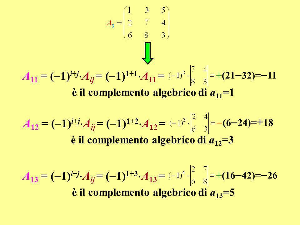è il complemento algebrico di a 21 =2 (9 40)= +31 A 21 = ( 1) i+j A ij = ( 1) 2+1 A 21 = è il complemento algebrico di a 22 =7 +(3 30)= 27 A 22 = ( 1) i+j A ij = ( 1) 2+2 A 22 = è il complemento algebrico di a 23 =4 (8 18)=+10 A 23 = ( 1) i+j A ij = ( 1) 2+3 A 23 = è il complemento algebrico di a 31 =6 +(12 35)= 23 A 31 = ( 1) i+j A ij = ( 1) 3+1 A 31 = è il complemento algebrico di a 32 =8 (4 10)=+6 A 32 = ( 1) i+j A ij = ( 1) 3+2 A 32 = è il complemento algebrico di a 33 =3 +(7 6)= +1 A 33 = ( 1) i+j A ij = ( 1) 3+3 A 33 =