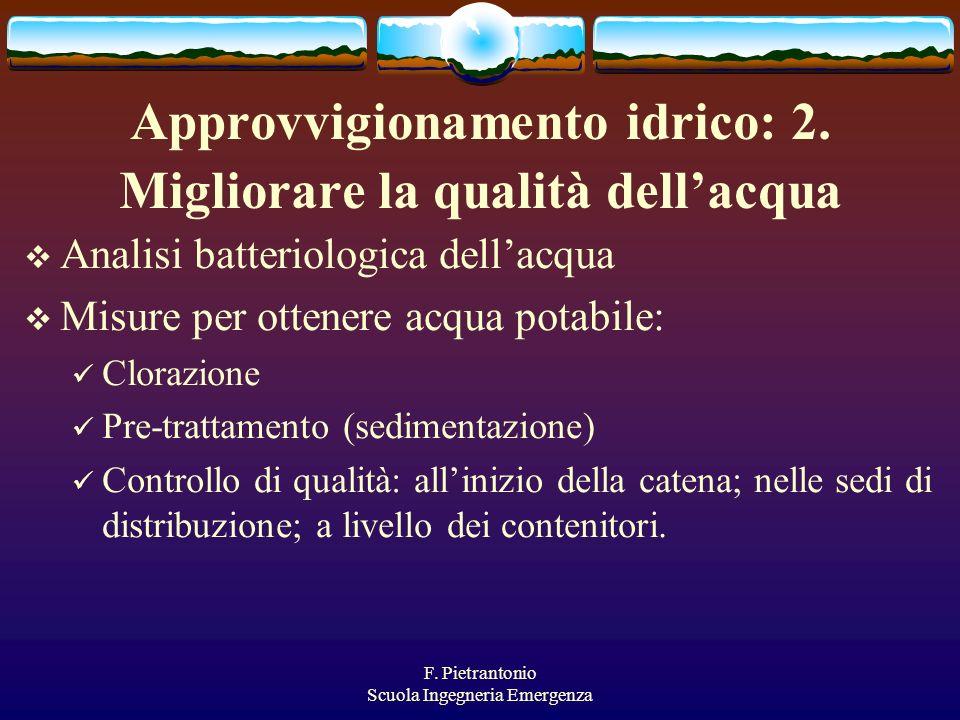 F. Pietrantonio Scuola Ingegneria Emergenza Approvvigionamento idrico: 2. Migliorare la qualità dellacqua Analisi batteriologica dellacqua Misure per