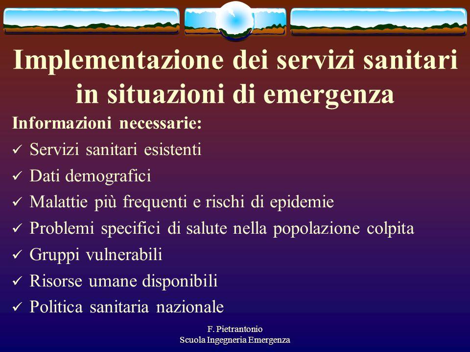 F. Pietrantonio Scuola Ingegneria Emergenza Implementazione dei servizi sanitari in situazioni di emergenza Informazioni necessarie: Servizi sanitari