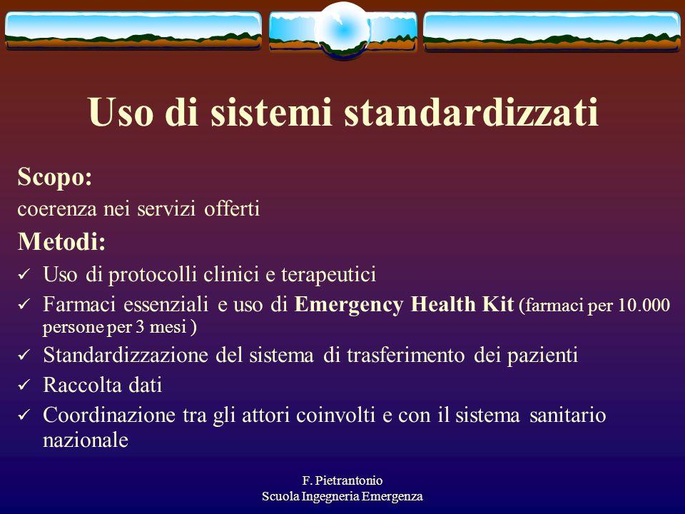 F. Pietrantonio Scuola Ingegneria Emergenza Uso di sistemi standardizzati Scopo: coerenza nei servizi offerti Metodi: Uso di protocolli clinici e tera