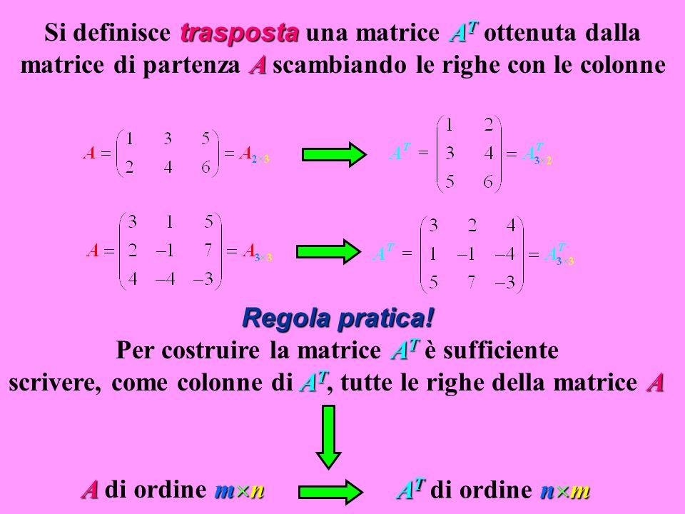 trasposta A T A Si definisce trasposta una matrice A T ottenuta dalla matrice di partenza A scambiando le righe con le colonne Regola pratica! A T A T