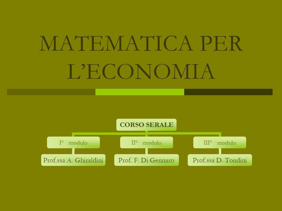 MATEMATICA PER LECONOMIA CORSO SERALE I° modulo Prof.ssa A. Ghiraldini II° modulo Prof. F. Di Gennaro III° modulo Prof.ssa D. Tondini