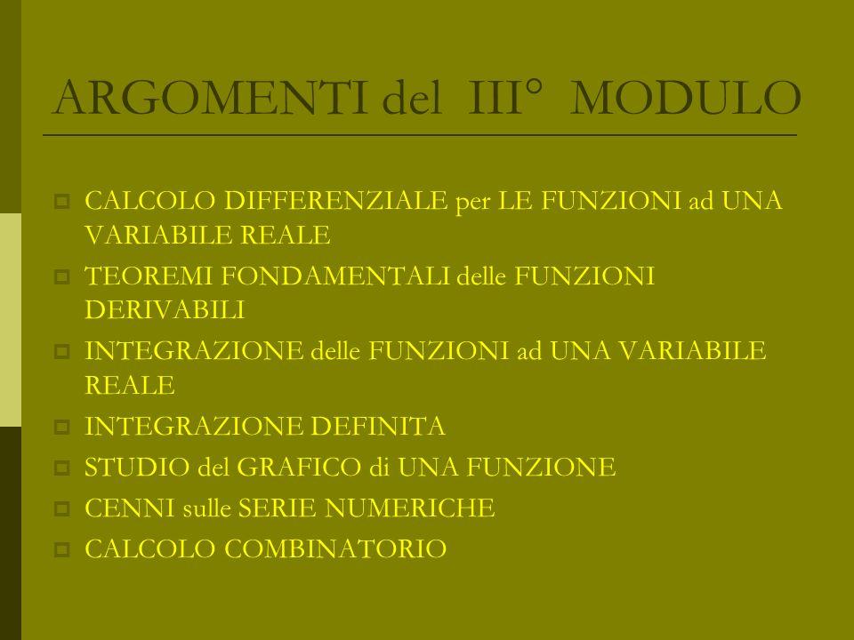 ARGOMENTI del III° MODULO CALCOLO DIFFERENZIALE per LE FUNZIONI ad UNA VARIABILE REALE TEOREMI FONDAMENTALI delle FUNZIONI DERIVABILI INTEGRAZIONE del