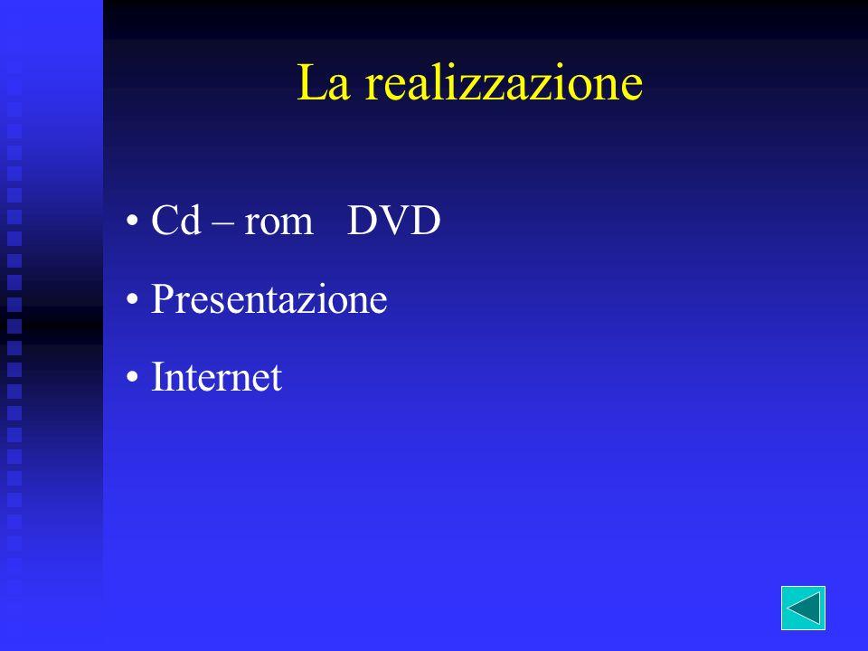 La realizzazione Cd – rom DVD Presentazione Internet