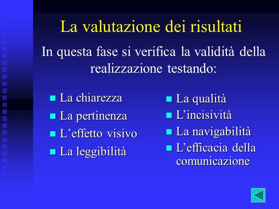 La valutazione dei risultati In questa fase si verifica la validità della realizzazione testando: La chiarezza La chiarezza La pertinenza La pertinenz