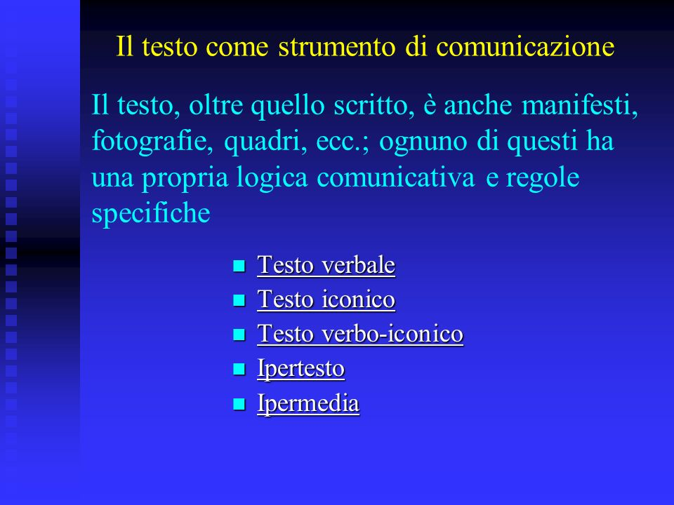Il testo come strumento di comunicazione Testo verbale Testo verbale Testo verbale Testo verbale Testo iconico Testo iconico Testo iconico Testo iconi