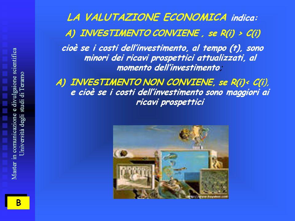 Master in comunicazione e divulgaione scientifica Università degli studi di Teramo B B LA VALUTAZIONE ECONOMICA indica: A)INVESTIMENTO CONVIENE, se R(i) > C(i) cioè se i costi dellinvestimento, al tempo (t), sono minori dei ricavi prospettici attualizzati, al momento dellinvestimento; A)INVESTIMENTO NON CONVIENE, se R(i)< C(i), e cioè se i costi dellinvestimento sono maggiori ai ricavi prospettici