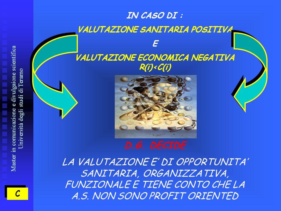 Master in comunicazione e divulgaione scientifica Università degli studi di Teramo C C IN CASO DI : VALUTAZIONE SANITARIA POSITIVA E VALUTAZIONE ECONOMICA NEGATIVA R(i)<C(i) D.G.