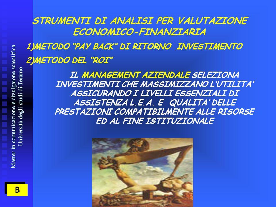 Master in comunicazione e divulgaione scientifica Università degli studi di Teramo B B STRUMENTI DI ANALISI PER VALUTAZIONE ECONOMICO-FINANZIARIA 1)METODO PAY BACK DI RITORNO INVESTIMENTO 2)METODO DEL ROI IL MANAGEMENT AZIENDALE SELEZIONA INVESTIMENTI CHE MASSIMIZZANO LUTILITA ASSICURANDO I LIVELLI ESSENZIALI DI ASSISTENZA L.E.A.