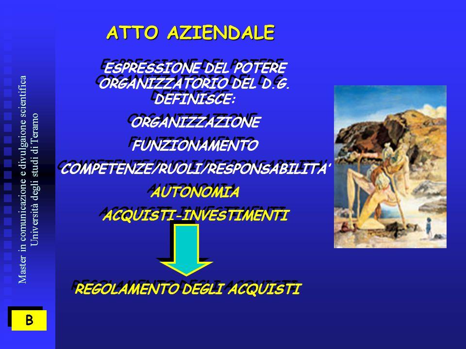 Master in comunicazione e divulgaione scientifica Università degli studi di Teramo ATTO AZIENDALE ESPRESSIONE DEL POTERE ORGANIZZATORIO DEL D.G.