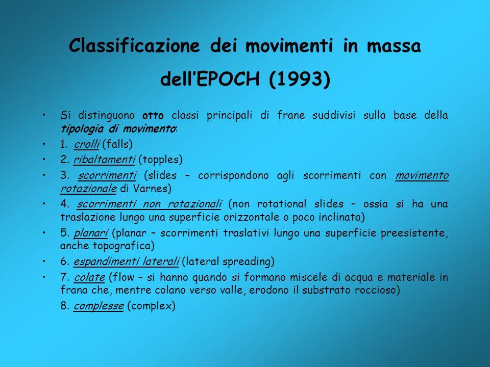Classificazione dei movimenti in massa dellEPOCH (1993) Si distinguono otto classi principali di frane suddivisi sulla base della tipologia di movimen