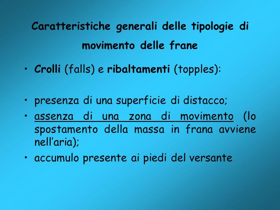 Caratteristiche generali delle tipologie di movimento delle frane Crolli (falls) e ribaltamenti (topples): presenza di una superficie di distacco; ass