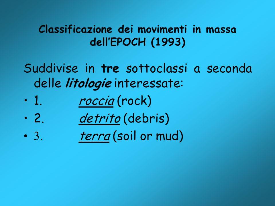 Classificazione dei movimenti in massa dellEPOCH (1993) Suddivise in tre sottoclassi a seconda delle litologie interessate: 1. roccia (rock) 2. detrit