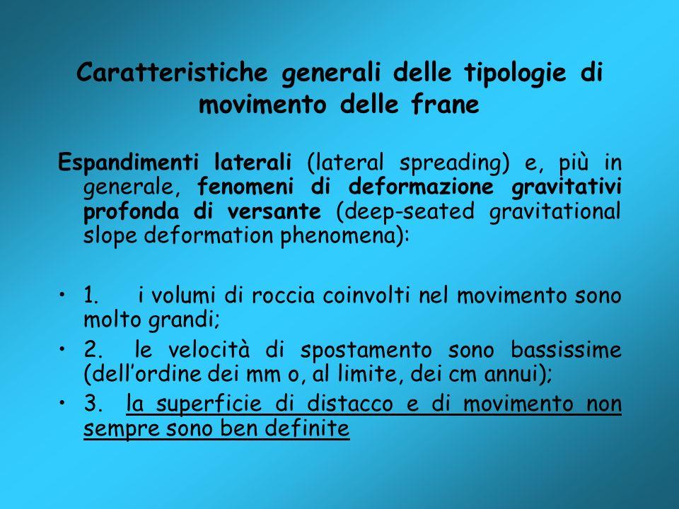 Caratteristiche generali delle tipologie di movimento delle frane Espandimenti laterali (lateral spreading) e, più in generale, fenomeni di deformazio
