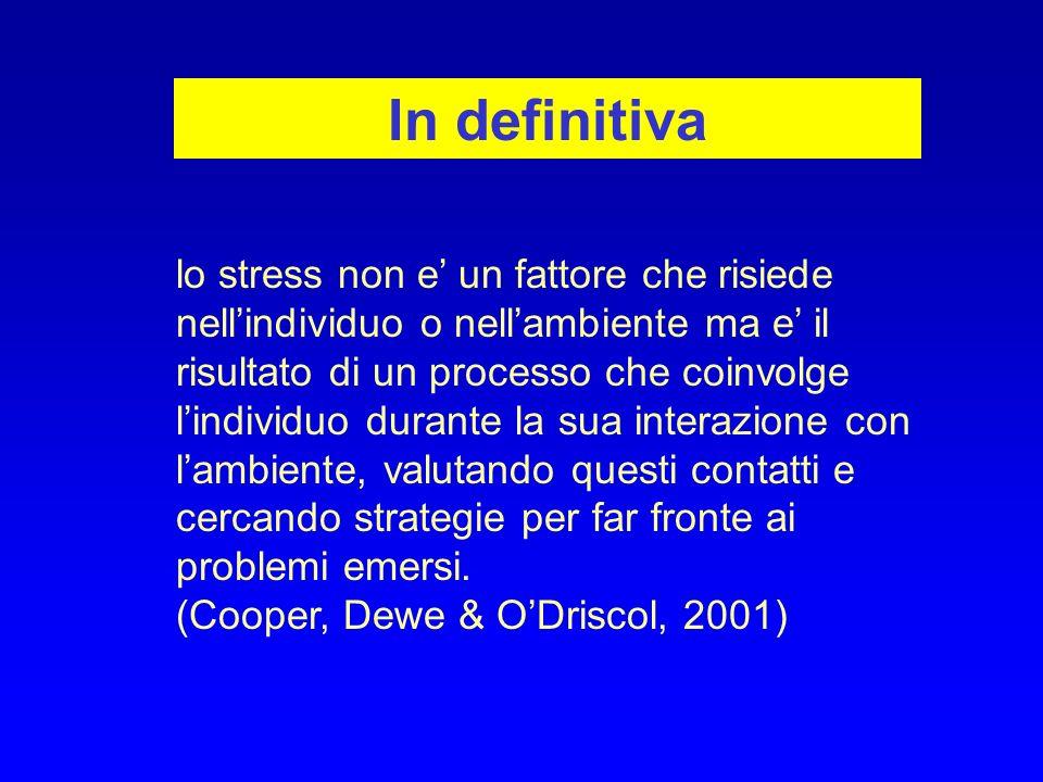 In definitiva lo stress non e un fattore che risiede nellindividuo o nellambiente ma e il risultato di un processo che coinvolge lindividuo durante la