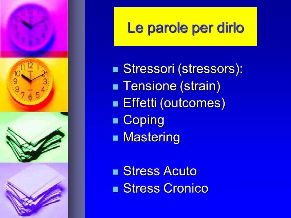 Le parole per dirlo Stressori (stressors): Stressori (stressors): Tensione (strain) Tensione (strain) Effetti (outcomes) Effetti (outcomes) Coping Coping Mastering Mastering Stress Acuto Stress Acuto Stress Cronico Stress Cronico