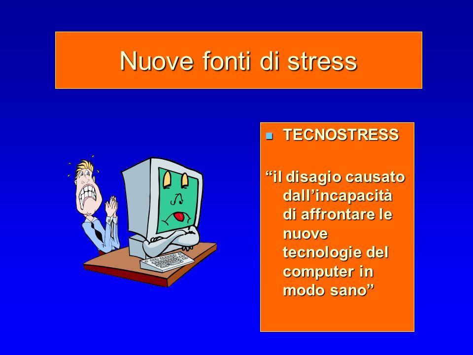 Nuove fonti di stress TECNOSTRESS TECNOSTRESS il disagio causato dallincapacità di affrontare le nuove tecnologie del computer in modo sano