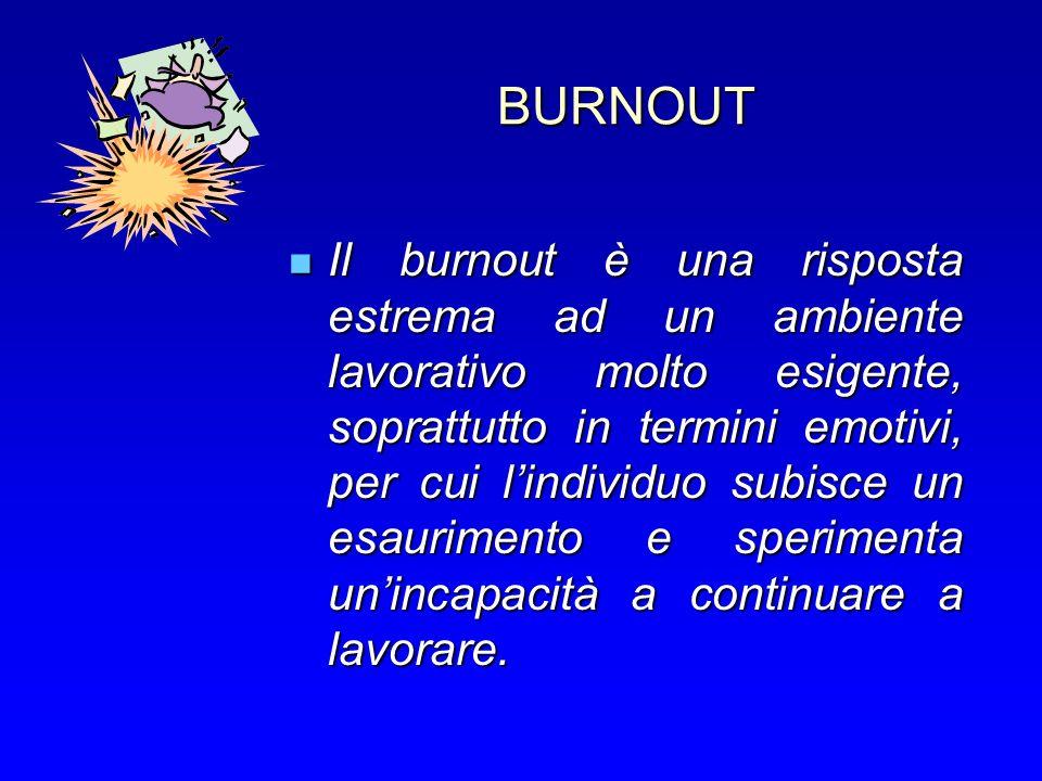 BURNOUT Il burnout è una risposta estrema ad un ambiente lavorativo molto esigente, soprattutto in termini emotivi, per cui lindividuo subisce un esaurimento e sperimenta unincapacità a continuare a lavorare.