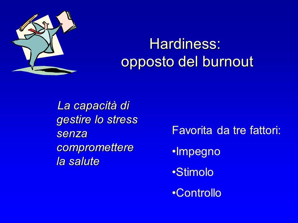 Hardiness: opposto del burnout La capacità di gestire lo stress senza compromettere la salute Favorita da tre fattori: Impegno Stimolo Controllo