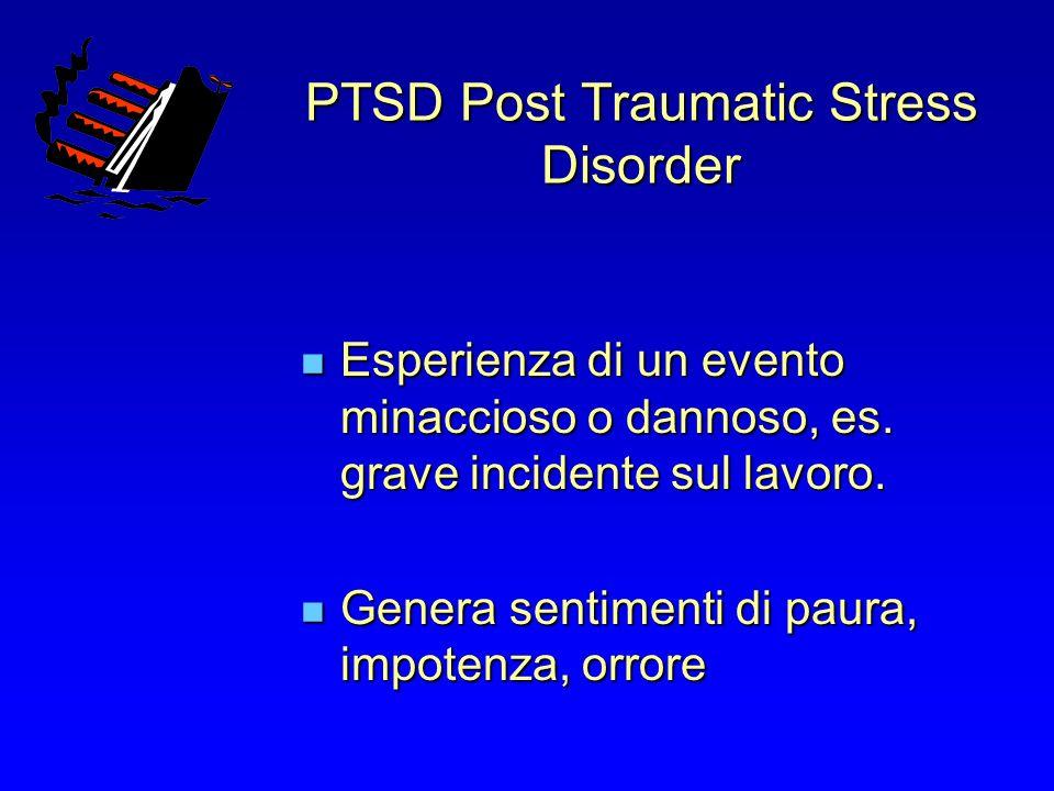 PTSD Post Traumatic Stress Disorder Esperienza di un evento minaccioso o dannoso, es. grave incidente sul lavoro. Esperienza di un evento minaccioso o